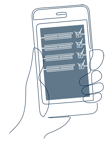 Illustration of iPhone with checklist