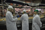 3 workers in white safety coats, hats, and gloves inspect the food manufacturing process